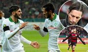 Leverkusen V l n r Florian Grillitsch jubelt mit Torschuetze Santiago Garcia beide SV Werder Brem / Bild: (c) imago/Eibner (imago sportfotodienst)