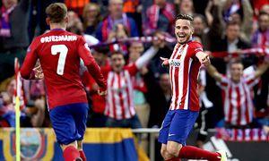 Saul Niguez celebrates his goal with Antoine Griezmann of Atletico during the Champions League match / Bild: (c) imago/BPI (imago sportfotodienst)