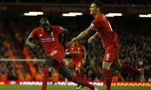 Mamadou Sakho of Liverpool celebrates scoring the second goal during the Barclays Premier League mat / Bild: (c) imago/Sportimage (imago sportfotodienst)