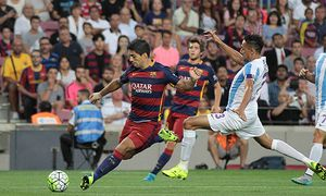 29 08 2015 Nou Camp Barceona Spain FC Barcelona Barca versus Malaga CF Suarez barca in action / Bild: (c) imago/Action Plus (imago sportfotodienst)