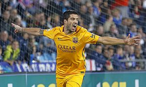Spanish League match between FC Getafe and FC Barcelona Barca In this picture Luis Suarez celebr / Bild: (c) imago/Marca (imago sportfotodienst)