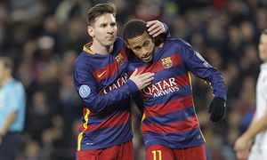 lionel messi neymar joie FC Barcelona Barca UEFA Champions League 2015 2016 FC Barcelona vs AS / Bild: (c) imago/PanoramiC (imago sportfotodienst)