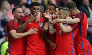 Marcus Rashford of England celebrates scoring the first goal during the International Friendly Lände / Bild: (c) imago/Sportimage (imago sportfotodienst)
