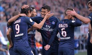 Edinson Cavani psg Thiago Silva psg Fussball Frankreich Ligue 1 AS Nancy vs Paris Saint G / Bild: (c) imago/PanoramiC (imago sportfotodienst)