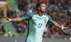 Fußball Länderspiel Portugal Belgien Portugal s Nani celebrates pictured during the FIFA Interna / Bild: (c) imago/Panoramic International (imago sportfotodienst)