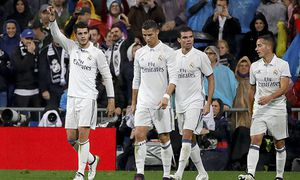 Real Madrid s Marcelo L celebrates with his teammates after scoring a goal during their Spanish Pr / Bild: (c) imago/Agencia EFE (imago sportfotodienst)