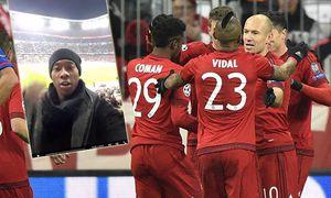 TOR zum 2 0 durch Robert Lewandowski FC Bayern München rechts Enntäuschung bei Dimitris Siovas Oly / Bild: (c) imago/Michael Weber (imago sportfotodienst)