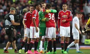 David de Gea of Manchester United ManU celebrates victory with team mates including Anthony Martial / Bild: (c) imago/Sportimage (imago sportfotodienst)