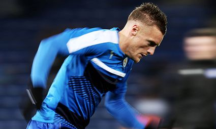 Jamie Vardy of Leicester City warms up before the UEFA Champions League group stage match between Le / Bild: (c) imago/BPI (imago sportfotodienst)