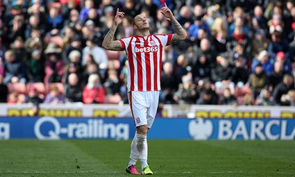 Stoke City s Marko Arnautovic celebrates his goal during the Barclays Premier League match between S / Bild: (c) imago/BPI (imago sportfotodienst)