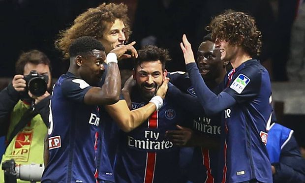 Jubel Ezequiel Lavezzi PSG FOOTBALL Paris Saint Germain vs Toulouse Halbfinale Coupe de la L / Bild: (c) imago/PanoramiC (imago sportfotodienst)