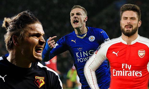 Leicester s Jamie Vardy celebrates scoring his sides opening goal Barclays Premier League Leiceste / Bild: (c) imago/Sportimage (imago sportfotodienst)