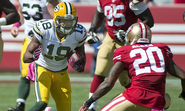 Green Bay Packers Randall Cobb 18 takes an Aaron Rodgers pass 19 yards against the San Francisco 4 / Bild: (c) imago/UPI Photo (imago sportfotodienst)