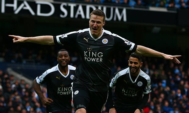 Robert Huth of Leicester City celebrates scoring his goal to make the score 0 3 during the Barclays / Bild: (c) imago/BPI (imago sportfotodienst)