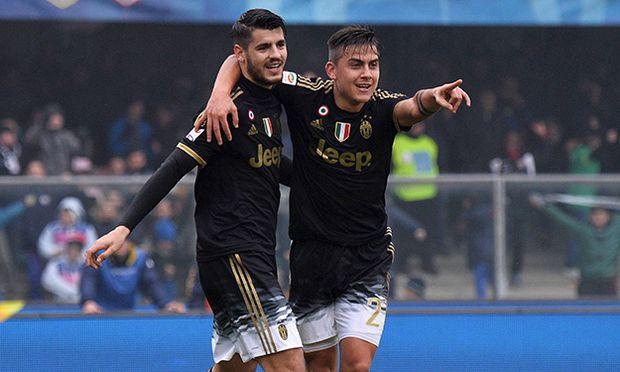 Fußball Juventus Turin Chievo Verona Alvaro Morata and Paulo Dybala Juventus Goal celebration Ver / Bild: (c) imago/Insidefoto (imago sportfotodienst)