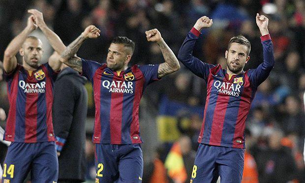 FC Barcelona Barca s Xavi Hernandez Javier Mascherano Daniel Alves Jordi Alba Gerard Pique and / Bild: (c) imago/Alterphotos (imago sportfotodienst)