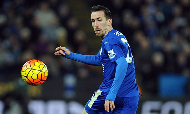Christian Fuchs of Leicester City Barclays Premier League Leicester City vs Liverpool King Pow / Bild: (c) imago/Sportimage (imago sportfotodienst)
